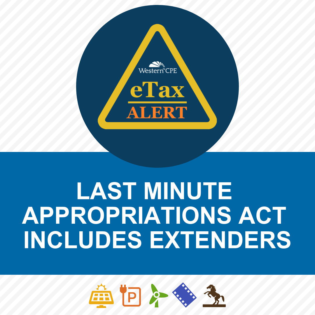 Appropriations Act Extenders - CPE for CPAs