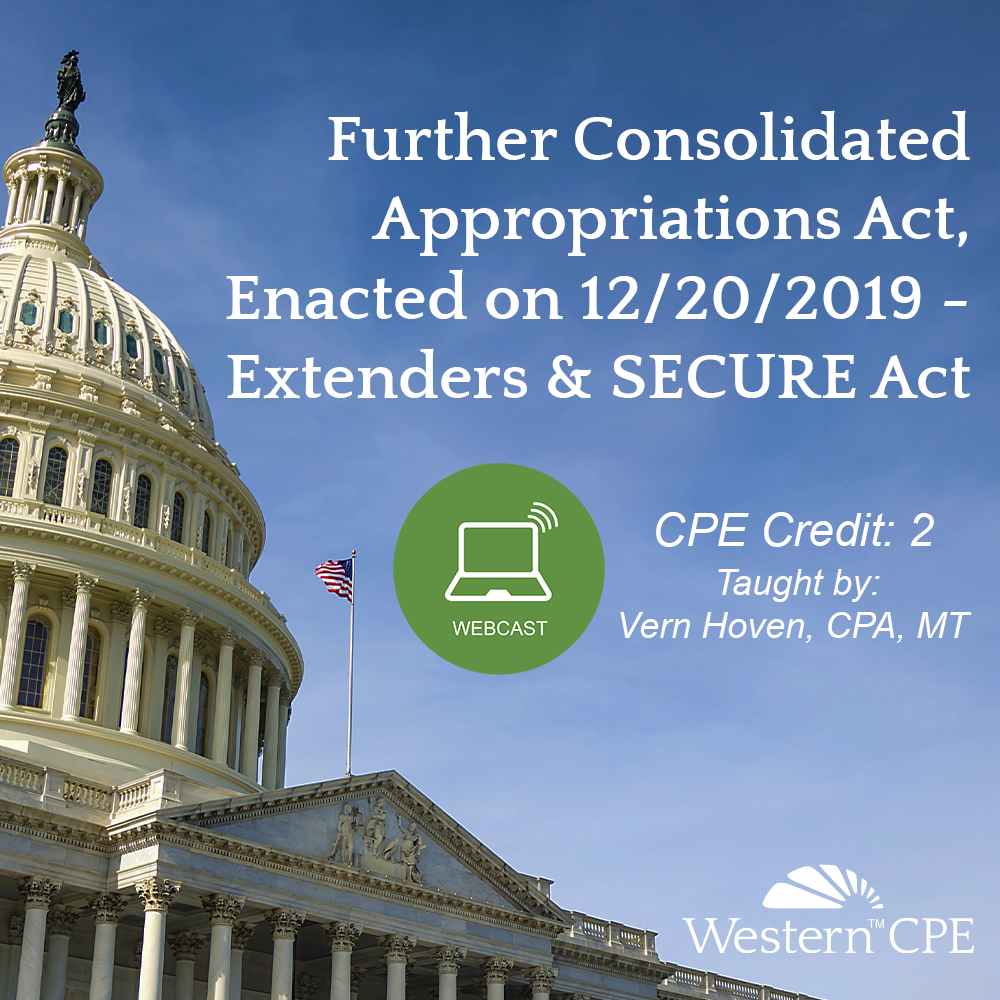 Further Consolidated Appropriations Act Extenders SECURE Act Webcast