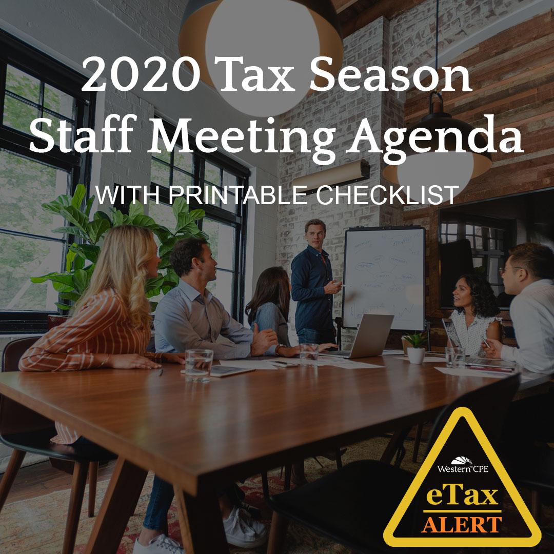 2020 Tax Season - Tax Meeting Agenda Checklist
